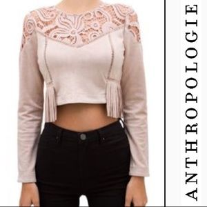   J.O.A Anthro   cropped crochet top  
